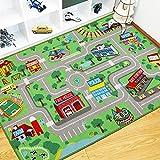 Capslpad Alfombra infantil, alfombra de juego para niños, ciudad urbana, calle, 160 x 100 cm,...