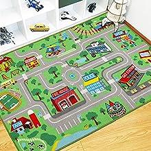 Capslpad Alfombra infantil, alfombra de juego para niños, ciudad urbana, calle, 160 x 100 cm, alfombra de juego educativa, alfombra de juego para habitación infantil