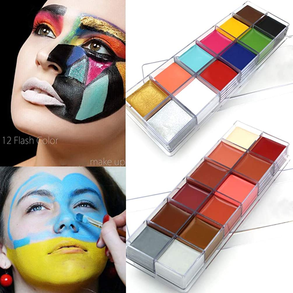 12 Colors/Set Oil Paint Face Body Painting Pigment Art Theme Party, Halloween, Fancy Dress Party Make Up Tool