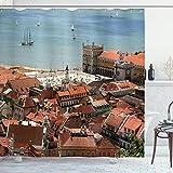 ABAKUHAUS Bunt Duschvorhang, Stadt Lissabon, mit 12 Ringe Set Wasserdicht Stielvoll Modern Farbfest & Schimmel Resistent, 175x180 cm, Mehrfarbig