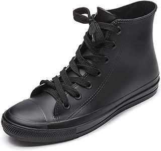 Women's Rain Boots Waterproof High Top Rain Shoes with Lace Up Anti-Slip Yellow Garden Shoes