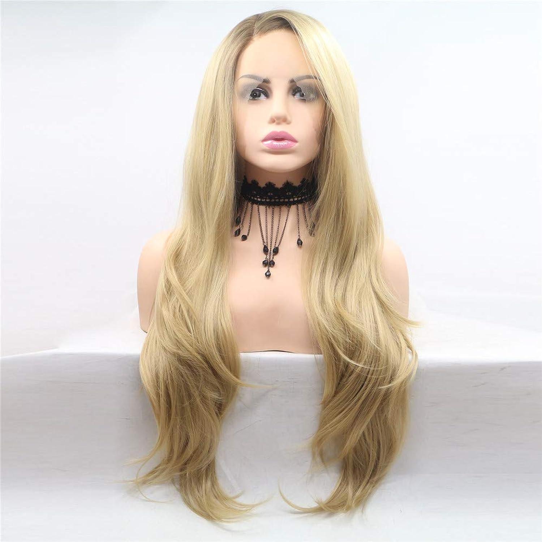 Frauen gold Lange lockiges Haar Perücken Anime Mode Frauen Cosplay Perücke Party Perücke