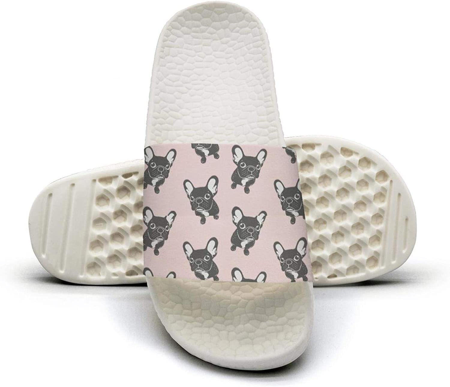 Beautiful Women French Bulldog Puppy Kawaii Slip on Beach Sandals and Anti-Slip Shower Slipper Comfort Sandals
