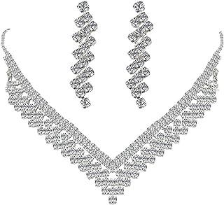 Wiwiw أنيقة نمساوية الكريستال على شكل حرف V أقراط قلادة مجموعة لحفل زفاف