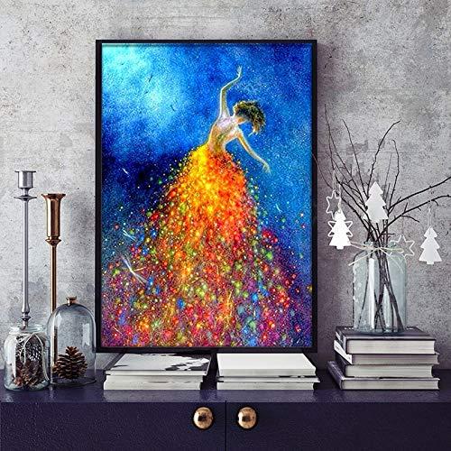 KWzEQ Schöne Bilder von Fantasy-Tänzer-Wandgemälden, Wandgemälden von Wohnkultur,Rahmenlose Malerei,75x112cm