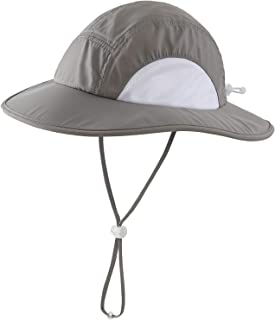 Home Prefer Kids Toddlers UPF50+ Wide Brim Sun Hat Lite UV Protection Bucket Hat (Grey, Small)