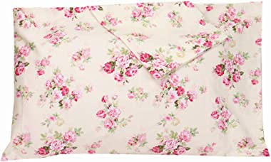 2 Piece Queen Size Pillow Cases, 100% Cotton Red Floral Pillow Covers with Envelope Closure, Super Soft and Cozy