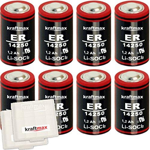 8X Kraftmax LS 14250-1/2 AA/Mignon - Lithium 3,6V Batterie LS14250 / Li-SOCl2 Hochleistungs- Batterien mit extrem hoher Energiedichte - in Batteriebox