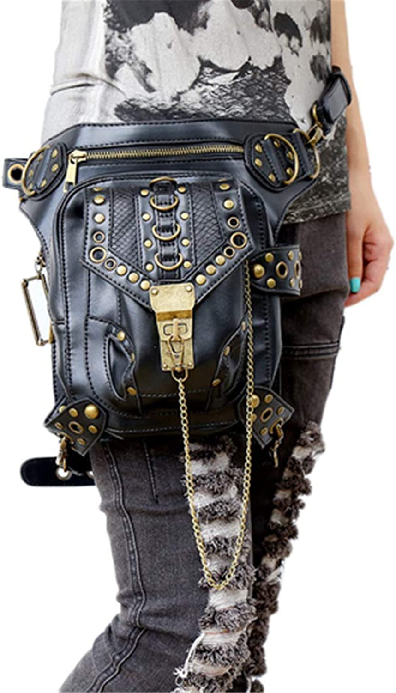 Skull Retro Rock Waist Bags Gothic Shoulder Messenger Bags Men Women Leather Waist Fanny Pack Holster Leg Bag
