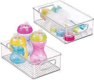 mDesign Plastic Kitchen Pantry Cabinet, Refrigerator or Freezer Food Storage Bins with Handles - Organizer for Fruit, Yogurt, Snacks, Baby Bottles, Jars - BPA Free, 10