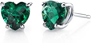 14 Karat White Gold Heart Shape 1.50 Carats Created Emerald Stud Earrings