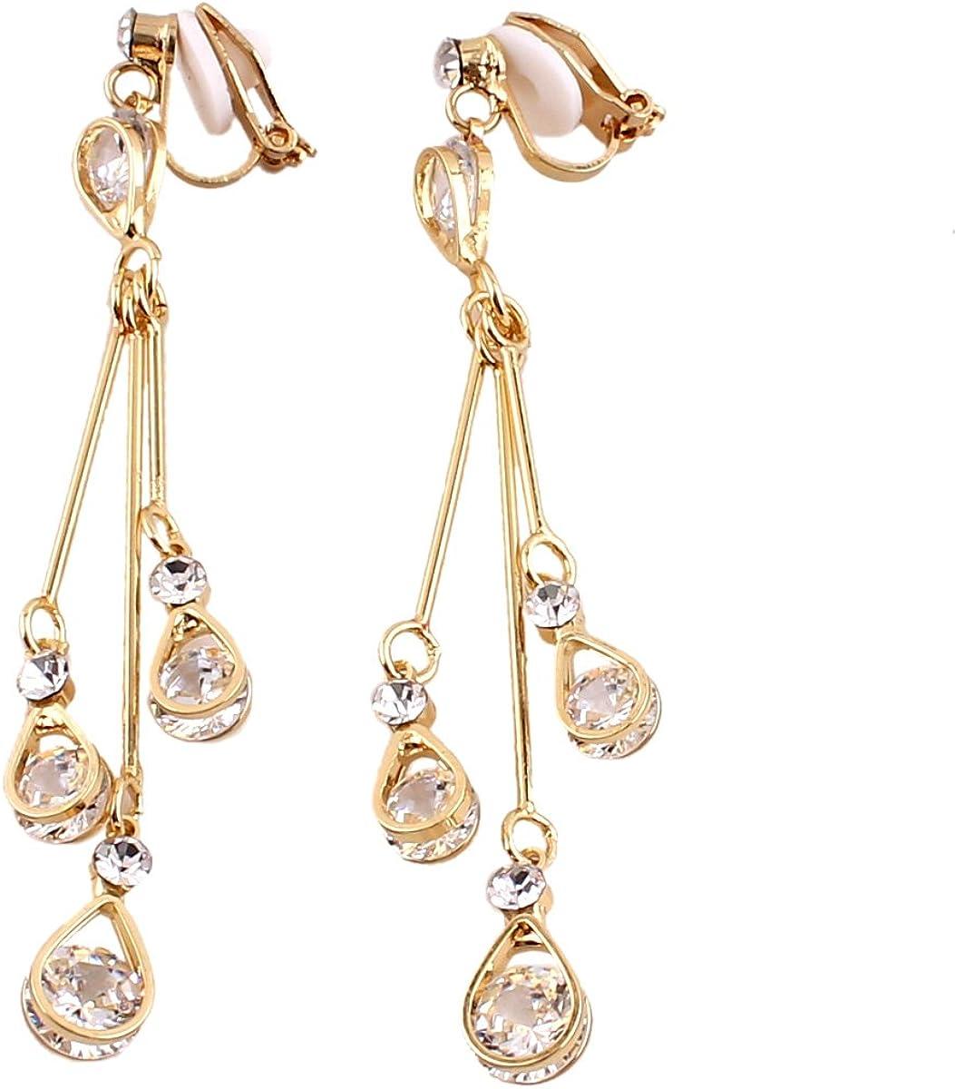 Grace Jun Women's Platinum Plated Water Drop Shape Drop Earrings