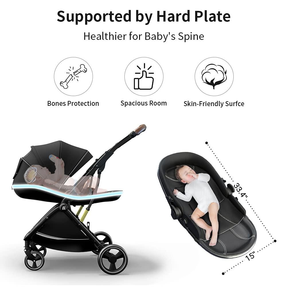 Coballe Baby Stroller, 2 in 1 High Landscape Convertible Reversible Bassinet Pram for Infant & Toddler, Foldable Aluminum Alloy Pushchair with Adjustable Backrest, 3D Suspension (Black)