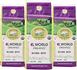 ELWORLD AGRO & ORGANIC FOOD PRODUCTS White Quinoa Premium High Protein Superfood 1 Kg (Pack Of 3), 3Kg