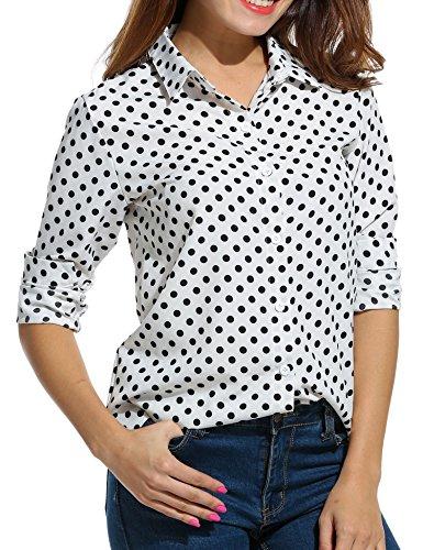 Beyove - Camicia da donna in chiffon, con scollo a V, a maniche lunghe, casual, con bottoni automatici Punti bianchi. XL