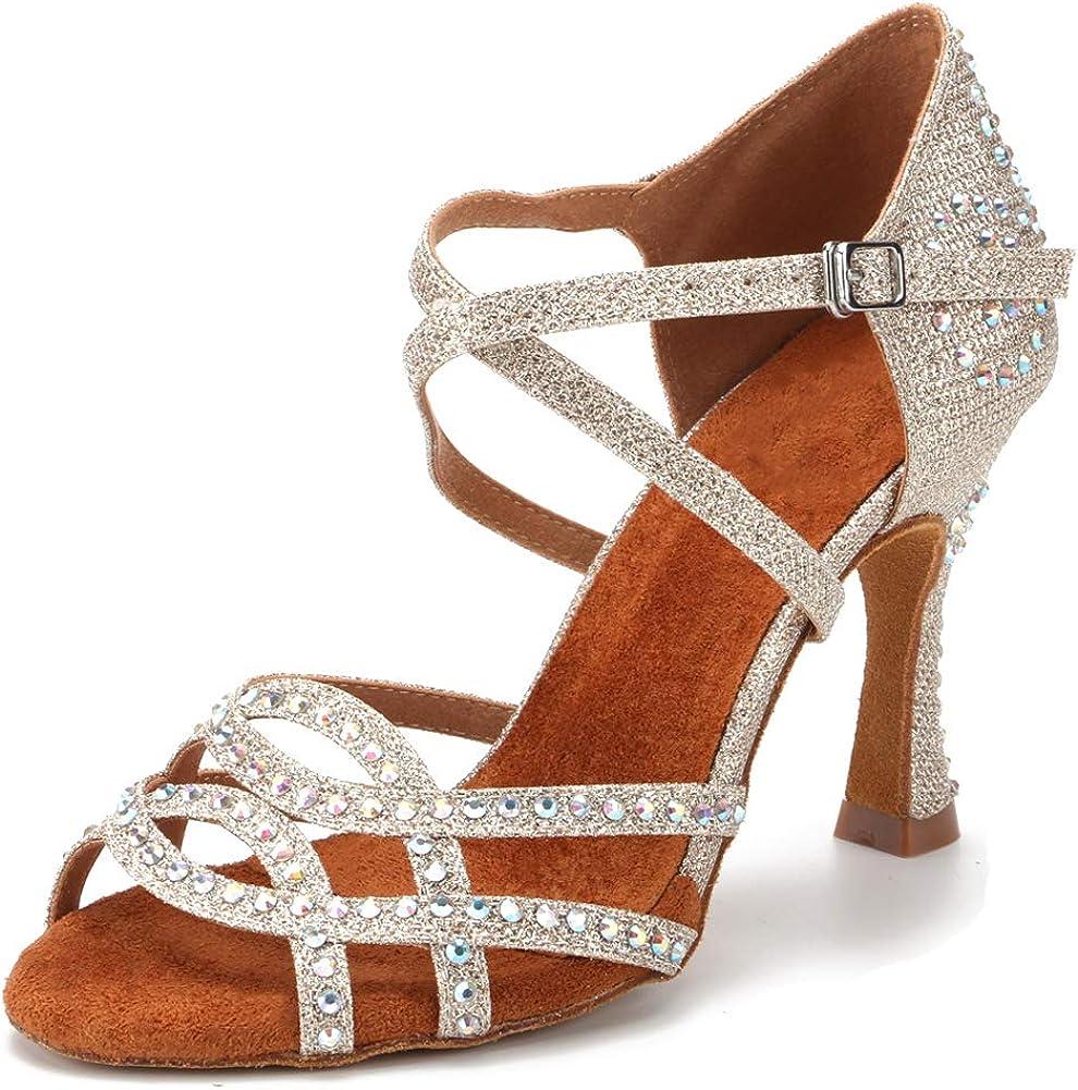 JUODVMP Women Rhinestone Dance Shoes Ballroom Latin Salsa Bachata Performance Dance Dancing Shoes
