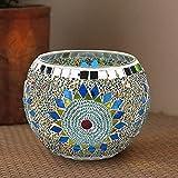 LUEROD Candelabros redondos de cristal con mosaico, portavelas de té,...