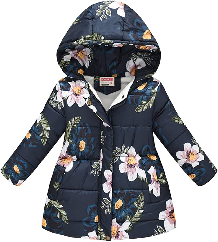 Girls Hooded Winter Hooded Windproof Coat Thickened Warm Snowsuit Jacket