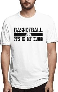 Waiguorenhe Basketball It's in My Blood Pattern Printed Cotton T-Shirt Public White