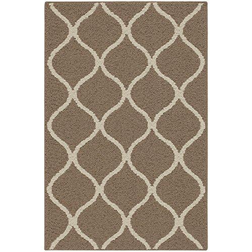 Tapetes Rebecca Maples 1'8 x 2'10 antiderrapante pequenos detalhes tapetes [Feito nos EUA] para entrada e quarto Tradicional 2'6 x 3'10 Café Brown/White