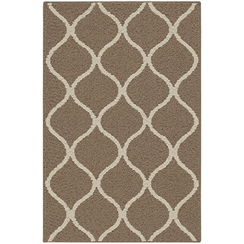 Maples Rugs Rebecca Contemporary Kitchen Rugs Non Skid Accent Area Carpet [Made in USA], 2'6 x 3'10, Café Brown/White