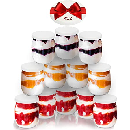 SPECIAL-DAY 12 Pots de Yaourt avec 24 couvercles Dont 12 couvercles en supplément (Prix sur Amazon : 8,20€) - Qualité Alimentaire et sans BPA - Fabriqué en France