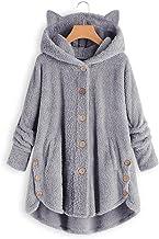 YIPUTONG Dames Fuzzy Hoodies Dames Button Fleece Jas Lange Mouwen Capuchontrui met kattenoren, Herfst- en Winter Effen Plu...