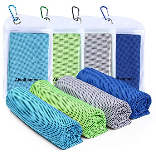 """Alsol Lamesa 4 Packs Cooling Towel (40""""x 12"""") Ice Sports Towel Cool Neck Towel Soft Breathable Chilly Towel Microfiber Towel for Gym Workout Fitness Yoga & Golf Camping & More Activities"""