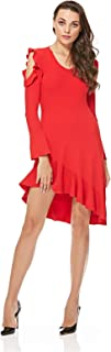 Miss Sixty Red Gafna Dress With Asymmetric Skirt For Women, Size L