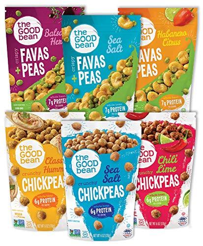 The Good Bean Crispy Chickpeas & Favas + Peas, Variety Pack, 6 Ounce (Pack of 6)