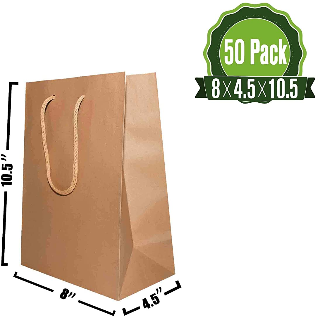 Kraft Paper Gift Bags Bulk with Rope Handles 50Pc [ Ideal for Shopping, Packaging, Retail, Party, Craft, Gifts, Wedding, Recycled, Business, Goody and Merchandise Bag] (100 Bags) (Brown)