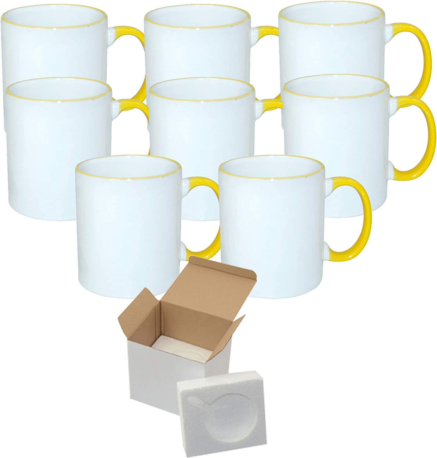 Special price for a limited time Set of Sale Special Price 8 11 oz. Ceramic Handle- - Sublimation YELLOW Rim Mugs