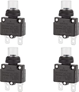 DIYhz 5Amp Circuit Breakers Thermal Overload Switch Protector 88 Series Manual Push Button Reset with Quick Connect Terminals and Waterproof Button Cap 32VDC or 125/250VAC 4PCS