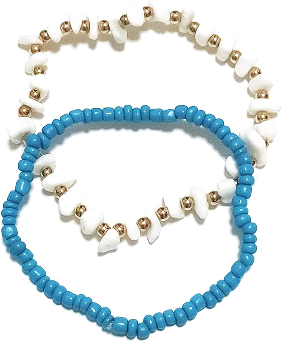 Turquoise Bohemian Anklet for Women 2 Pcs Raw Stone Bracelet Foot Chain Beach Anklet Jewelry Girls Teens