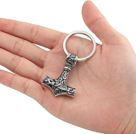 Jovivi Wikinger Vikings Thors Hammer Schlüsselanhänger Edelstahl Mjölnir Anhänger Schlüsselring Damen Herren Geschenk Schmuck