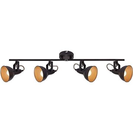Briloner Leuchten 2049-045 Plafonnier, Lampe, Spots pivotants et orientables, rétro/Vintage, 4 x E14, 40 Watts, métal, doré, 790 x 190 mm (LxH), W, Noir/Or