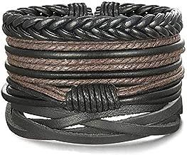 LOLIAS 24 Pcs Woven Leather Bracelet for Men Women Cool Leather Wrist Cuff Bracelets Adjustable (Style I:4pcs a Set)