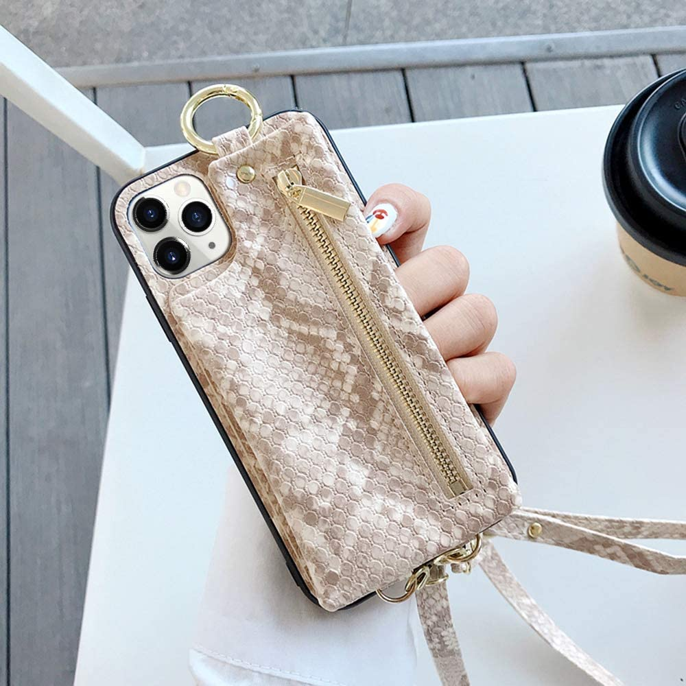 LUVI for iPhone 11 Pro Wallet Case with Crossbody Neck Strap Lanyard Purse Handbag Shoulder Strap Cover with Snake Skin PU Leather Pocket Credit ID Card Holder Case for iPhone 11 Pro White