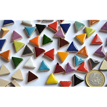 10 Stück keramische Mosaiksteine rund beige Durchmesser ca 17-18 mm ca 20g