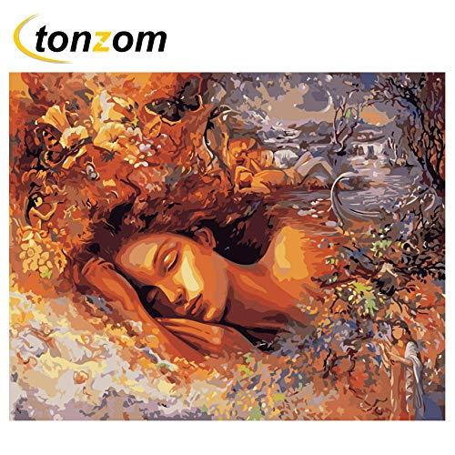 DIOPN, slaeping meisje doe-het-zelf schilderen, op nummer, droom, olieverfschilderij op canvas, handgeschilderd acrylverf, huis kunst, digitale schilderij (zonder lijst, 40 x 50,50 x 60 cm) 40*50 cm