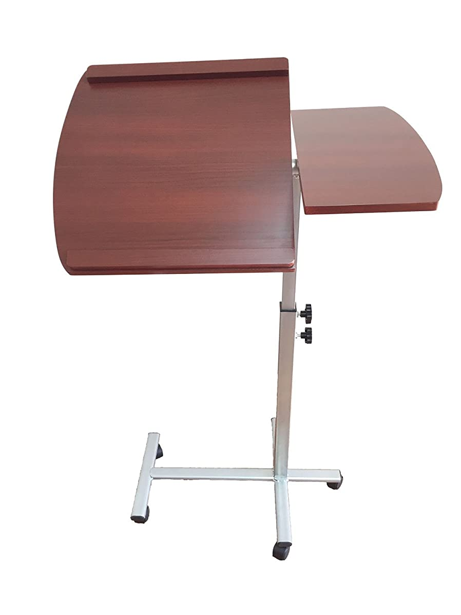 BTExpert Premium Adjustable Height & Angle Mobile Computer Laptop Desk Rolling Tray Cart Cherry Over Bed Hospital Table Stand