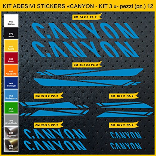 Pimastickerslab Aufkleber Fahrrad Canyon - KIT 3 - Kit Aufkleber Stickers 12 Stück – bici Bike Cycle wählbar Cod.0950 (053 BLU LEGGERO)