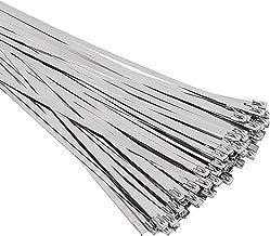 Syfinee Stainless Steel Zip Ties Exhaust Wrap 100//150//200//250//300//350mm Multi-Purpose Locking Cable Metal Zip Ties Stainless Steel Self Locking Wrap Ties Straps Header Wrap Zip Tie 100PCS