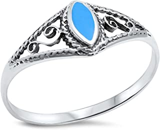 Marquise Filigree Design Wedding Engagement Inlay Swirl Ring 925 Sterling Silver Choose Color