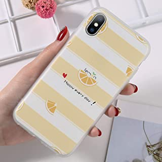 GUYISJK Cover Iphone,Lemon Yellow Simple Personality Pattern For Iphone 8 6 6S Plus X Xr Xs Maxsoft Tpu Matte Back Cover Phone Cases,For Iphone 6 Plus/6S Plus