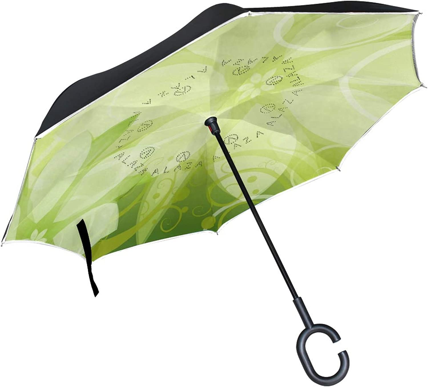 Ingreened Umbrella Double Layer Reverse Umbrella Waterproof Windproof UV Predection Straight Umbrella with CShaped Handle Light Green Floral Digital Printing for Car Rain Outdoor Use