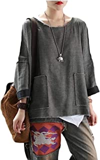 Hokny TD Women Loose Fit Tee Side Slit Splice High-Low Hem Pockets T-Shirts