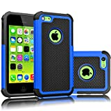 Tekcoo iPhone 5C Case, [Tmajor Series] [Blue/Black] Shock Absorbing Hybrid Impact Defender Rugged Slim Case Cover Shell for Apple iPhone 5C Hard Plastic Outer + Rubber Silicone Inner