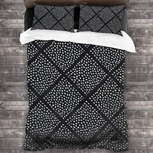 Qing_II Juego de cama de 3 piezas, con diseño de lunares, color blanco y negro, 1 funda de edredón de microfibra suave, 1 funda de edredón de 86 x 70 pulgadas y 2 fundas de almohada de 20 x 30 pulgadas