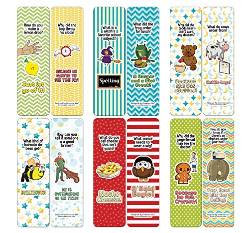 Creanoso Jokes for Kids Series Bookmarks Cards - Series 3 (12-Pack) - Stocking Stuffers Premium Quality Gift Ideas for Children, Teens, & Adults - Corporate Giveaways & Party Favors